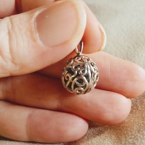 Sterling Silver Filagre Ball Cage Pendant